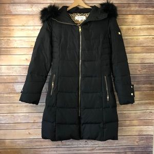 Calvin Klein long puffer coat with fur hood